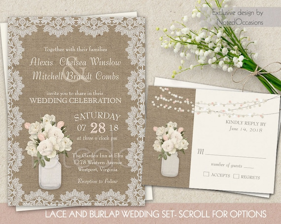 Wedding Invitations With Burlap: Burlap And Lace Wedding Invitation Set Rustic By