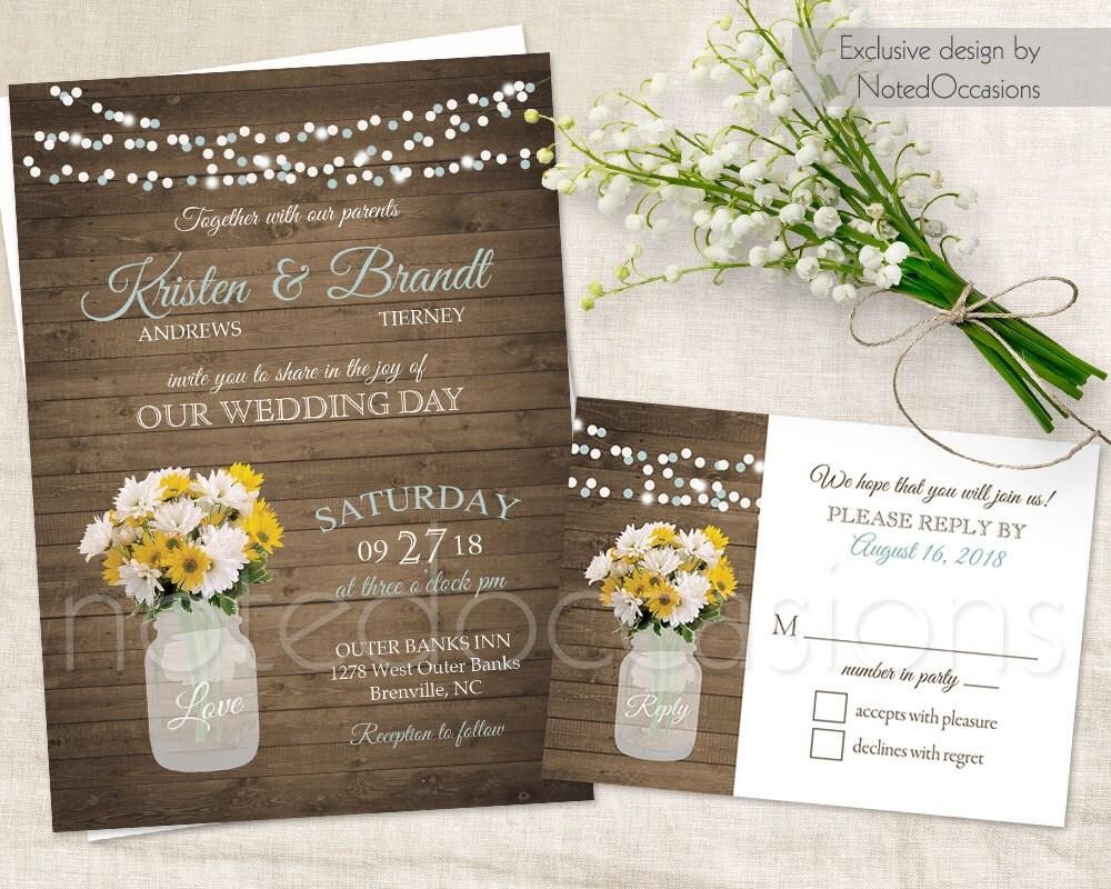 Cottage Mason Jar Wedding Invitation: Daisy Wedding Invitation Printable Mason Jar By NotedOccasions