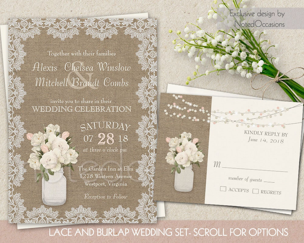 Wedding Invitation Lace: Burlap And Lace Wedding Invitation Set Rustic By