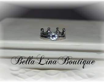 Child's Antiqued Silver Princess Crown Ring with Swarovski Crystal Stone - Size 4.5 - Ready to Ship!