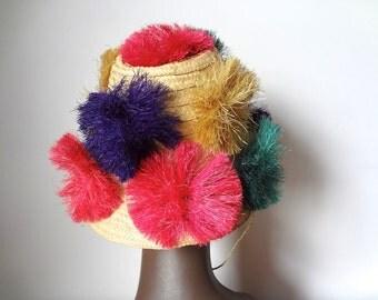 1950s Sun Hat - straw bucket hat with grass flowers - vintage tiki accessory