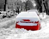 """Red, White and Black - Snowfall in Chicago. 8 x 10"""" Winter Fine Art Photography Archival Pigment Print - contest winner car city street"""