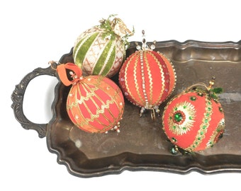 Four Large Ball Christmas Ornaments Handmade Vintage 1970s Orange Green Velveteen Ribbon Rhinestones Pearls Beads Retro Holiday Home Decor