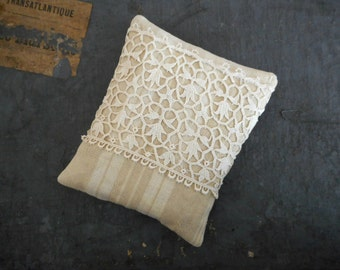 French Ticking Sachet Pillow Organic Lavender Vintage Textiles Lace Scented Home Decor French Chateau Cottage Chic Handmade Gift for Her