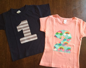 Birthday Number Shirt- 1, 2, 3, 4, 5, 6, 7, 8 - You Choose Grey Stripe or Rainbow - You Choose Shirt Color