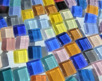 Colorful Mini Tiles - 1 cm Glass Mosaic Tiles - Assorted Colors - 100 - Use for Mosaic Jewelry Crystal