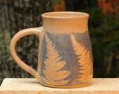 Blue Fern Mug, 21oz. Collectable Handmade stoneware, Microwave friendly