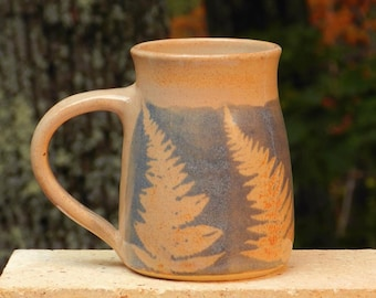 Blue Fern Mug, 20oz. Collectable Handmade stoneware, Microwave friendly