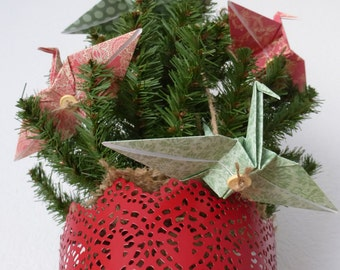 Retro Origami Ornaments - Set of 4 Coordinating Cranes - FREE Gift Box AND FREE Shipping!