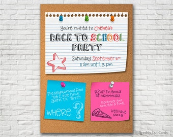 Cork Board Back To School Invitation - Printable or Printed (w/ FREE Envelopes)