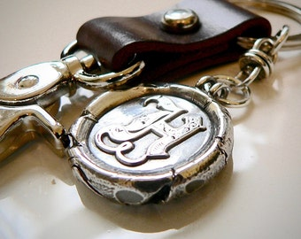 Gift for the BOSS  THICK Wax Seal Monogram Pendant with Chunky Leather Keychain,  Gift For man, Mens Gift