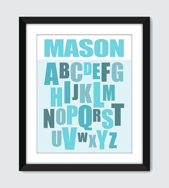 Modern Alphabet ABC with Personalized Name Wall Art - 8x10 Baby Children Nursery Custom Wall Print Poster