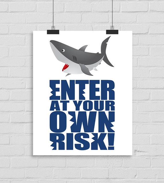 Shark Wall Art enter at your own risk wall art shark wall print shark wall