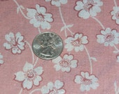 """Pretty Sheer Cotton Floral Fabric Yardage 44 Inch Width x 75"""" ( 2 Yards) Coral Background, White Flowers"""