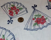 "Pretty Antique Cotton Unopened Full Novelty Feedsack, Fans and Floral Design on White Background, 40"" x 36"""