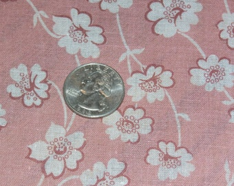 "Pretty Sheer Cotton Floral Fabric Yardage 44 Inch Width x 36 1/2"" Coral Background, White Flowers"