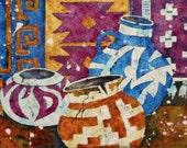Batik Watercolor Paitning of Southwestern Pots Colorful Santa Fe Taos by Martha Kisling