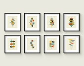Collection of (8) Giclee Prints in 8x10 - 11x14 - 16x20 Format - Mid Century Modern Print Set