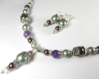 Plum, Purple and Powder Green Necklace and Earring Set