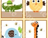 "Set of 4 Unframed ""Jungle Stack Animals/Elephant/Alligator/Giraffe/Owl/Turtle"" 8x10 Linen Look Nursery Wall Art Prints Baby Kids Decor"