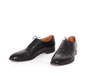 Vintage 60s Men's OXFORDS / 1960s Black Leather Brogue Toe Church's England Shoes 12
