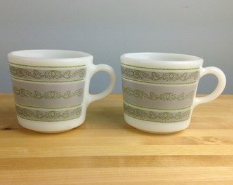 Vintage Nile Pyrex by Corning Mugs, Nile Pattern Pyrex Milk Glass Coffee Mugs
