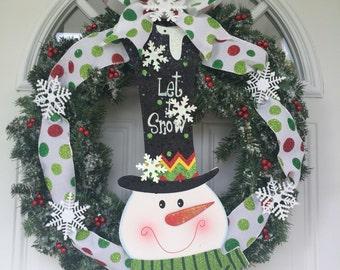Christmas wreath, Snowman Wreath, outdoor door decoration, front door wreath, door hanging, Christmas Decorations, winter wreath