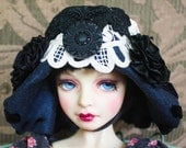 """Dark Navy Felt Flapper Style """"Edna"""" Hat With Black and Ivory Trim For Ball Jointed Dolls"""