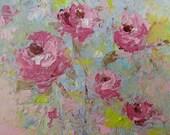 original pink floral oil painting  k d milstein fadedwest