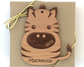 Zebra Christmas Ornament, Grassland Animal Ornament, Personalized Wood Animal Ornament, Custom Engraved Ornament, Wood Gift Tag