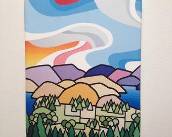 Landscape Art Print-Colorful Mountains-Lakes-Sky-Okanagan-Vancouver British Columbia-Interior Decor-Home Decor-Office-Perfect Gift