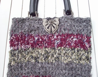 Stripe - Hand Knit Up-cycled Stripe Handbag/Purse