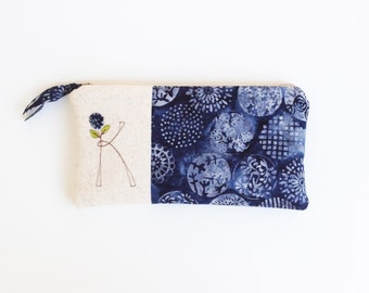 Monogram Clutch, Personalized Gift for Her, Indigo Blue Monogram Bag, Zipper Pouch, Letter K, Gift under 50 READY TO SHIP by MamaBleuDesigns