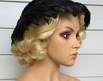 1950s Hat Black Feather By Royce