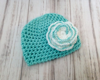 Robins Egg Blue Hat With Flower, Ready To Ship, Size 6 to 12 months