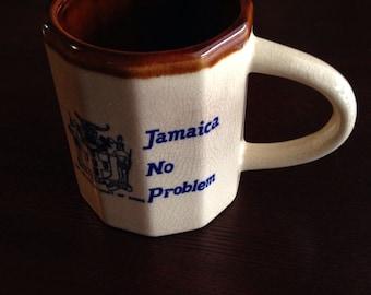 Jamaica no problem souvenir mug, vintage Jamaican Coat Of Arms collectible coffee mug, vintage ceramic mug, Jamaica mug, 1970s 1980s mug