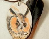 Long Eared Owl Wooden Pendant
