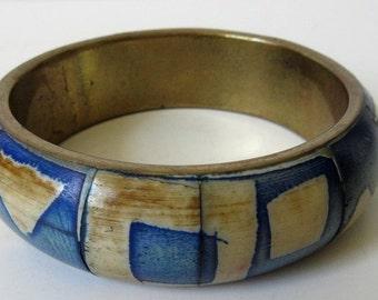 Brass & Bone Bangle Bracelet, Blue Dyed Boho Vintage