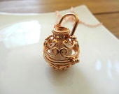 Aromatherapy Cage Necklace - Natural Lava Stone, Rose Gold, Free Shipping