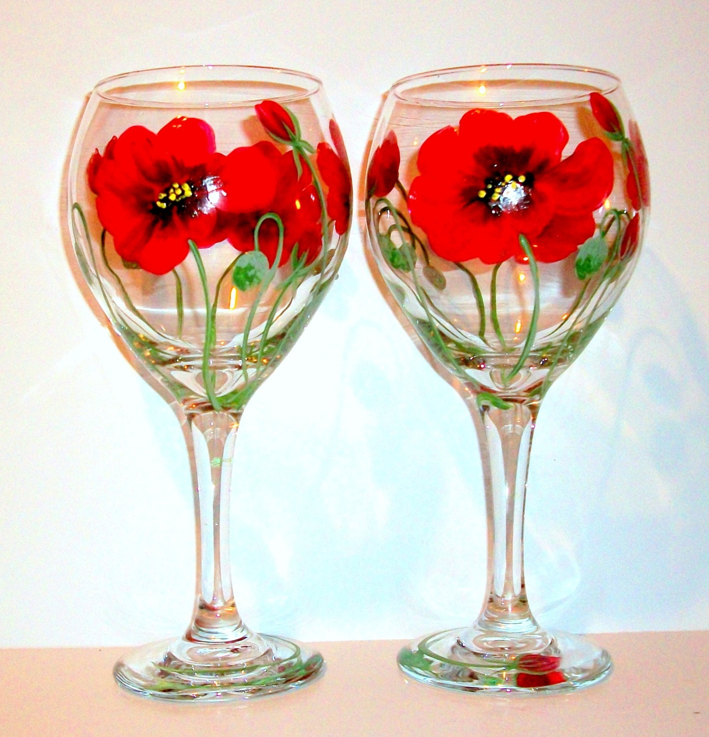 Red poppies flowers poppy hand painted wine glasses wedding for Hand designed wine glasses