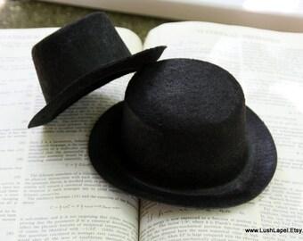 Black Felt Top Hat Base -  Choose Size, Halloween, Steampunk, Costume