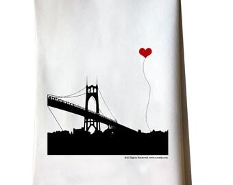 Portland Oregon St. John's Bridge tea towel