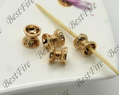 4 pcs 7mm 24K Gold Plated Brass Charm Pendant Spacer,Charms Jewelry Findings,metal brass spacers findings beads