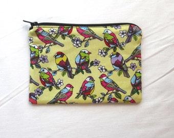 Tropical Birds Fabric Coin Purse/Zipper Pouch
