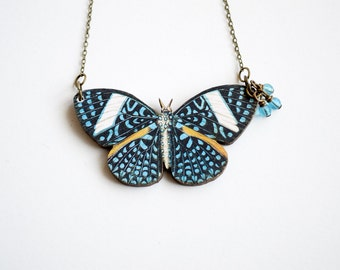 Blue Butterfly Necklace, Spotted Blue Moth Pendant, Wooden Jewelry, Glass Teardrop Pendant