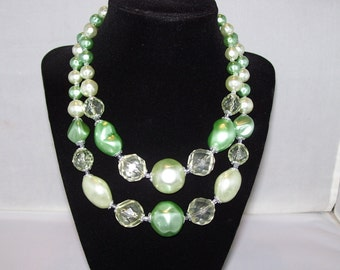 Chunky Beaded Multi Strand Necklace Green Faux Pearl Beads with Clear Crystal Shaped Beads Vintage 1950s 1960s Mid Century