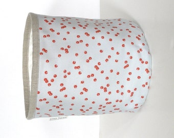 Fabric Bucket -- Stamped Coral Dots on Light Grey -- Ready to Ship