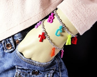 Multi-Colored CUSTOM NAME ALPHABET Letter Themed Charm Bracelet