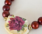 Rose Art Bead Necklace,  Simple, Rustic, Primitive Ceramic Pendant , Red Patina Brass, Reversible Necklace