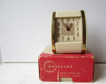 ON SALE Vintage Ivory Westclox Travalarm No 451 - Luminous Spring Driven Alarm Clock - With Original Box - Ivory and Gold